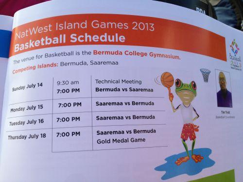 Календарь баскетбольного турнира Островных игр-2013