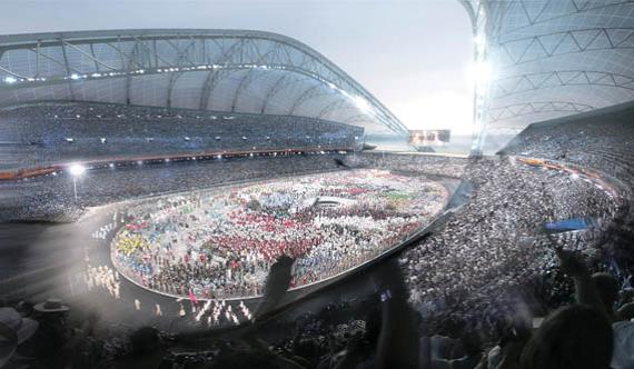 Стадион в Сочи – тот, на котором будут открывать Олимпиаду-2014. Вместимость – 47 659