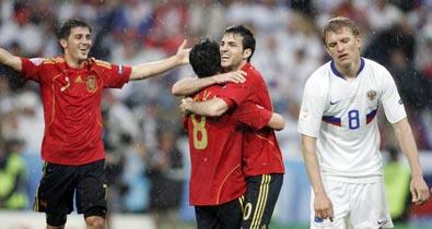 сборная Испании, сборная России, Гус Хиддинк, Давид Вилья, Евро-2008